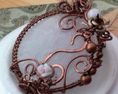 The Rose Garden Pendant - Rose Quartz with Flower Beads Copper Wire and Moonstone
