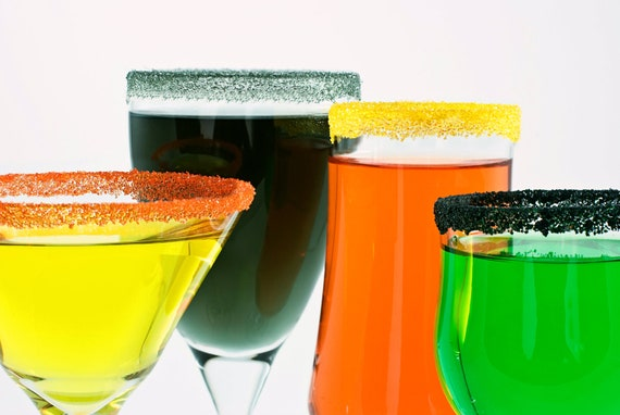 Halloween cocktail sugar - rim sweet martinis, margaritas in black, yellow, silver, orange colored sugar - drink recipes included