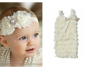 Ivory petti lace romper and headband SET, petti romper,baby headband, flower headband,vintage inspired headband and lace petti romper.
