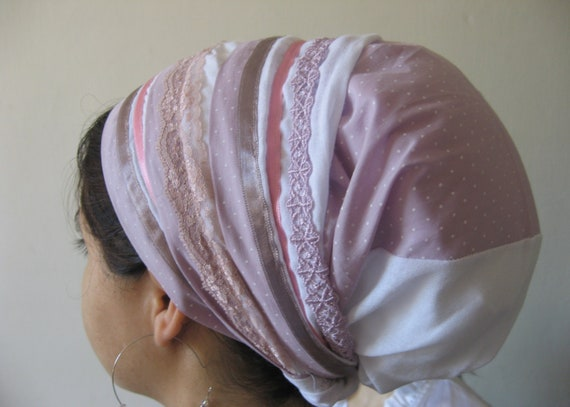 Tichel Hair Snood Head Scarf Bandana white dots pink fabric