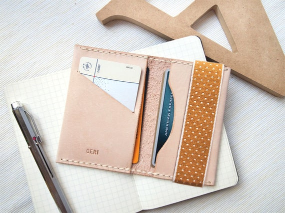 Personalized Leather Card Holder with Elastic Band, Hand Stitched by HarLex, Gift for Her, Christmas Gift, Thanksgiving Gift, Corporate Gift