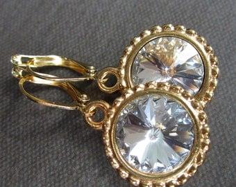 April Birthstone Earrings, Swarovski Crystal Gold Jewelry, Diamond Clear Drop Earrings