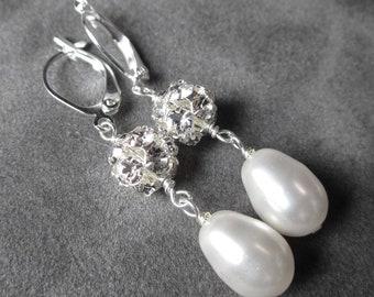 Bridal Earrings, Rhinestone Pearl Drop Earrings, Silver Crystal Dangle Earrings, Wedding Jewelry