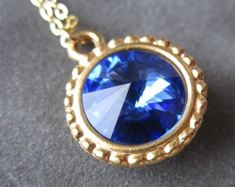 September Birthstone Necklace, Gold Crystal Birthstone Jewelry, Sapphire Necklace, Pendant, Sapphire Jewelry