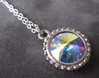 October Birthstone Necklace, Silver Aurora Borealis Crystal Birthstone Jewelry, Opal Necklace