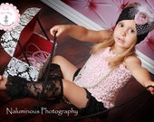 Ruffled Pink Tank Top,Ruffle Lace Black Shorts, Lace Legwarmers and Wide Black Lace Headband with Vintage Pink Rosette, Feathers and Veiling