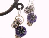 Grape Vine Cascade Earrings - beaded beads - purple sage green silver