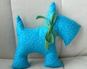 Stuffed Scotty Dog - Bright Blue Dots