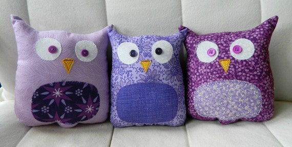 RESERVED for ashley - 3 custom purple owlets.