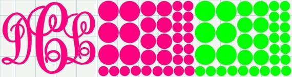 Vinyl Monogram and polka dots decals for DIY / Cake Carrier Personalization Decoration / Notebook Monogram / Car window decal / Laptop decal