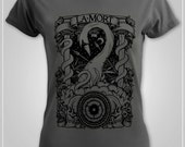 Beautiful LADIES FITTED Tarot Style T shirt - La Mort Narcosis 4 CHARCOAL