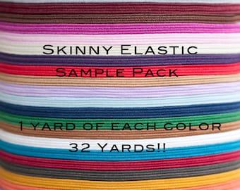 32 Yard Elastic Sample Pack, One Yard of Each Color 1/8 inch Skinny Elastic