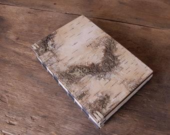 birch bark wood journal - handmade wood book -sketchbook - book lover gift - made to order