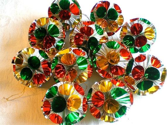 Christmas, Ornaments, Vintage Decorations, Metallic, Plastic, Foil, Green,  Gold