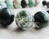 Natural moss agate beads, 12mm round, 16inch 28 pieces strand, dark green moss gemstone beads