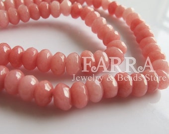 Pink jasper beads, 15 inch strand approx 78 pieces, faceted rondelle jasper gemstone beads