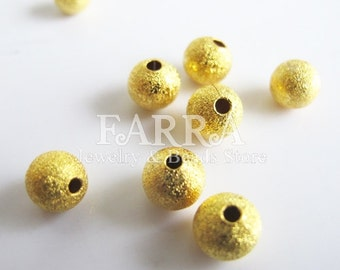 Starfust metal ball beads, gold color 20 pieces 6mm, jewelry findings, jewelry making supplies