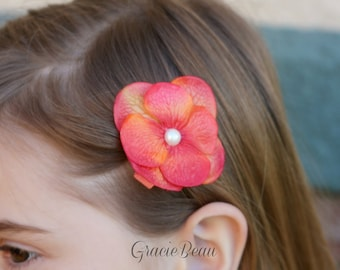 Orange Flower Hair Clip With Pearl Center