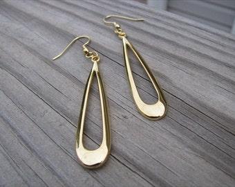 Gold Earrings- Long Open Teardrop