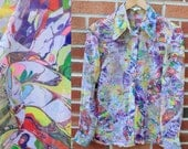 Vintage 70s Sheer Marbled Rainbow Top