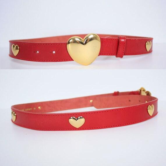 Vintage Gold Heart Red Leather Belt