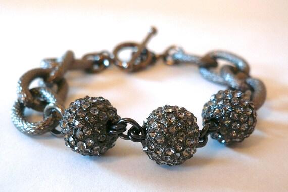 Textured Gunmetal link & pave ball bracelet