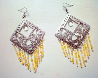 Big Gypsy earrings in silver tone and yellow tone / new price 20.50 dollars was 26,50 dollars