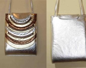 1980s Paul Joseph  Matallic Leather Long Strap Bag