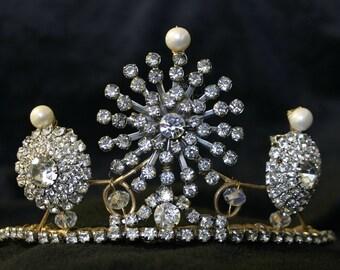 Old World Empress Tiara - Pearls and Vintage Rhinestones