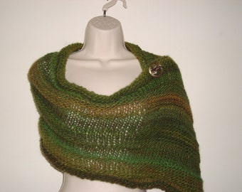 """Hand Knit Mobius Infinity Scarf/Wrap  with Elbow Length Gauntlets in """"Rainforest"""" Luxury Gift"""