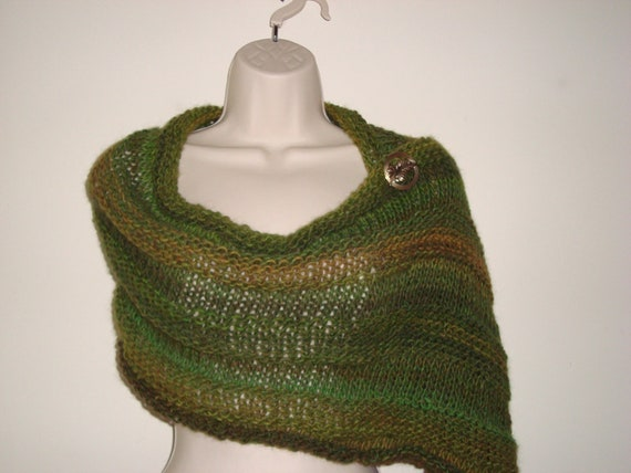 "Hand Knit Mobius Infinity Scarf/Wrap  with Elbow Length Gauntlets in ""Rainforest"" Luxury Gift"