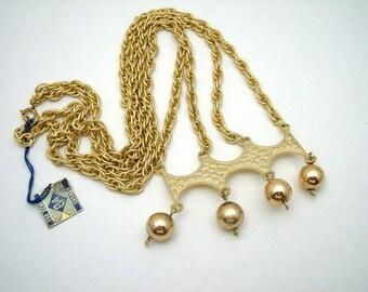Eva Scheel modernist style double gold chain necklace.