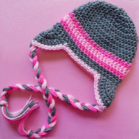 Crochet Beanie-Crochet Earflap-Ear Flap Hat-Pink and Gray-Newborn to Adult Sizes-Snow Angel