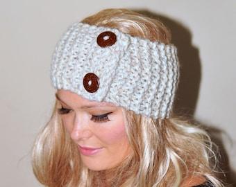 Earwarmer Buttons Winter WOOL Crochet Headband Chunky Ear warmer CHOOSE COLOR Wheat Beige Vanilla Warm Hair Band Button Gift under 50
