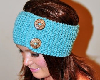 Mint Headband Buttons Earwarmer Crochet Headband CHOOSE COLOR  Mint Ear warmer Winter Headband Hair Band Button Gift under 50