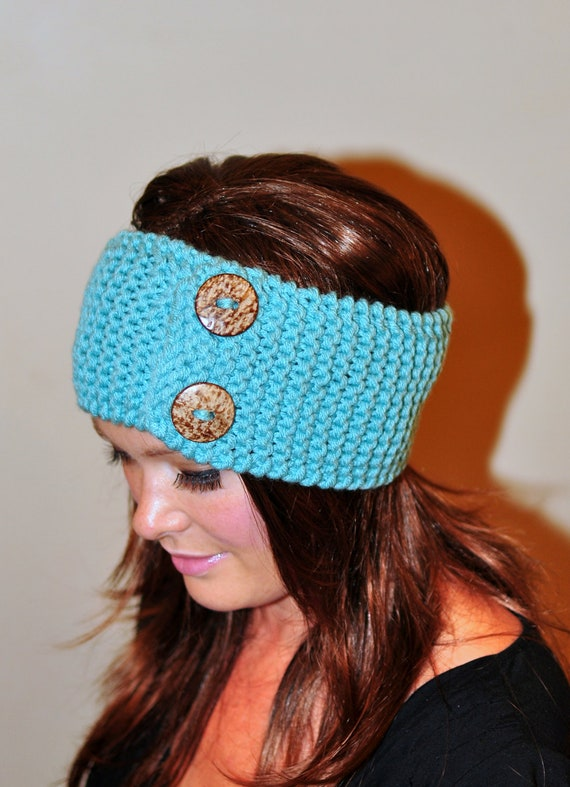 Knit Pattern Headband With Button Closure : Mint Headband Buttons Earwarmer Crochet Headband CHOOSE COLOR
