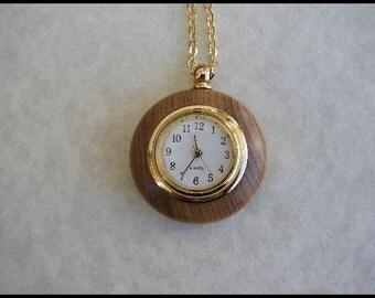 Oregon Myrtlewood Clock Necklace