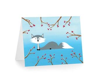 Fox Christmas Card - Winter Fox Greeting Card - Christmas in July