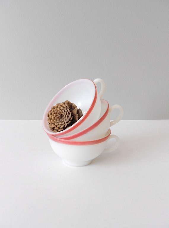Pyrex Pink Rimmed White Milk Glass Teacups--Set of 3