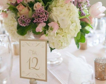 Antique Gold Leaf Shimmer Metallic Wedding Reception Table Numbers Number Cards Card Signs Sign