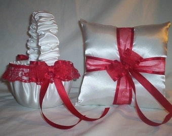 White Satin With Red  Lace And Ribbon  Trim Flower Girl Basket And Ring Bearer Pillow Set 1