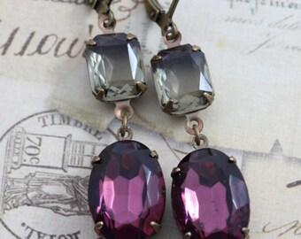 Purple Earrings Gray Earrings Crystal Earrings Amethyst Bracelet Jewelry Set Dangle Earrings Bridesmaid Earring Clip On Earrings Avail