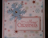 Square Merry Christmas Pink and Blue Snowflake Card set of 2