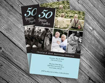 50th Anniversary Photo Invitation - printable