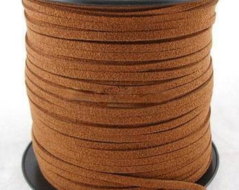 Faux Suede  Cord Leather Flat  Dark Orange 3x1.5mm-20ft