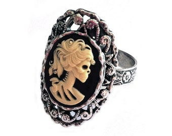 Lady Skeleton Cameo Ring - Day of the Dead Jewelry