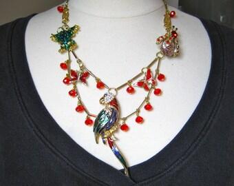Statement Necklace, Reclaimed Vintage, Enamel Brooch, Swarovski Crystals, OOAK, Jennifer Jones, Parrot, Layered, OOAK SALE - Ruby Rainforest