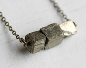 Fool's Gold Necklace ...  Natural Gold Nugget Pyrite Gems with Antique Gold