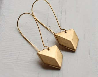 Geometric Chevron Earrings .. Vintage Gold Brass Modernist Military Cool