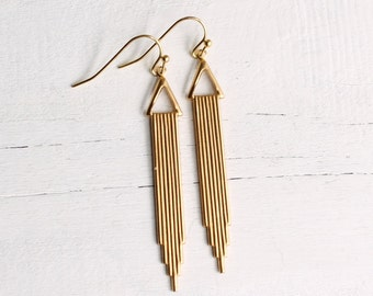 Gold Art Deco Earrings ...  Brass Chrysler Vintage Drop Modern